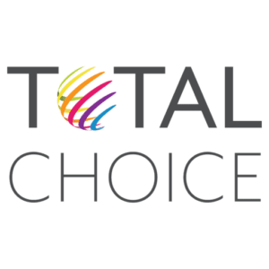"""Total Choice logo featuring a multicolor globe in place of the """"o"""""""