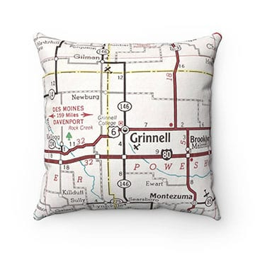 A map of Grinnell as the lining for a pillow case.