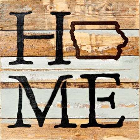 Home Iowa Wooden Wall Art