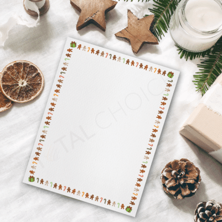 Gingerbread Candy Canes Holiday Letterhead