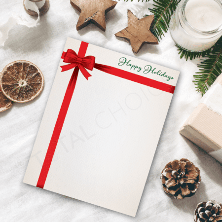 Holiday Bows Holiday Letterhead