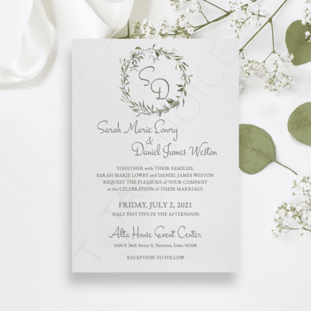 Vintage Greenery Invitation