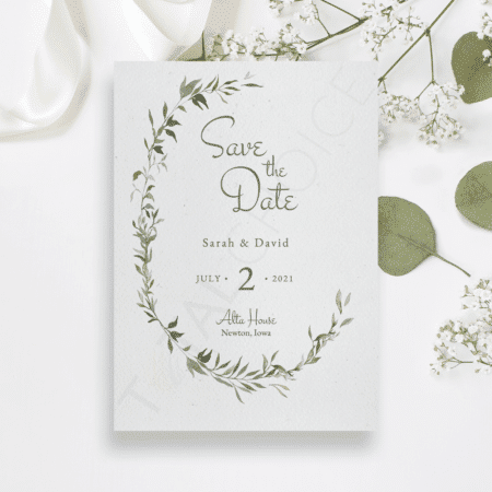 Vintage Greenery Save the Date