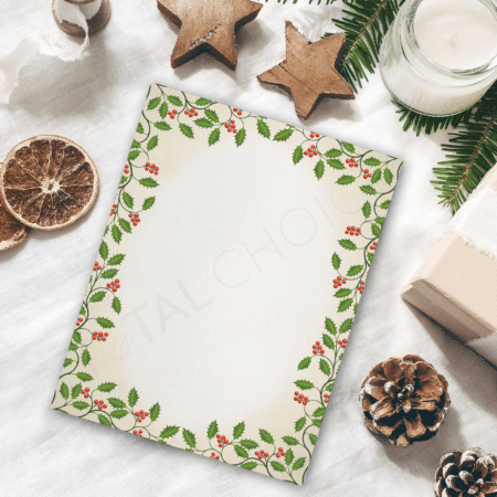 Vintage Holly Holiday Letterhead