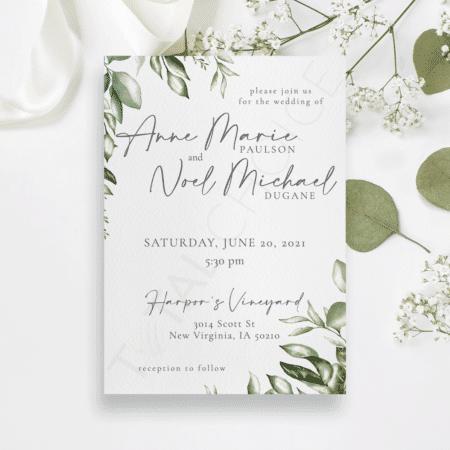 Watercolor Leaf Invitation