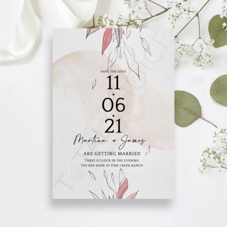 Blush Foliage Save the Date