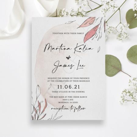 Blush Foliage Invitation