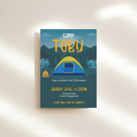 Mountain Campfire Birthday Invitation
