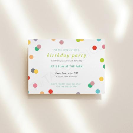Rainbow Confetti Birthday Invitation
