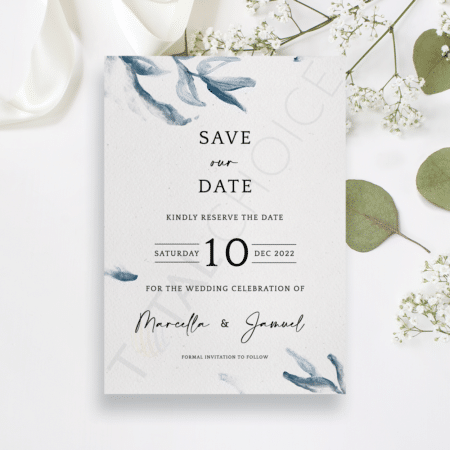Elegant Blue Watercolor Save the Date