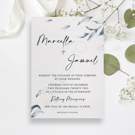 Elegant Blue Watercolor Invitation