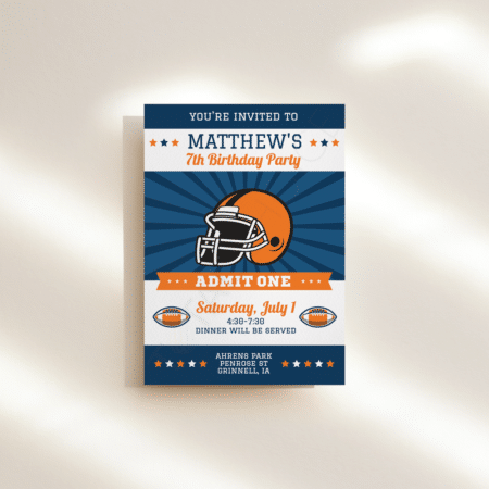 All Star Football Birthday Invitation