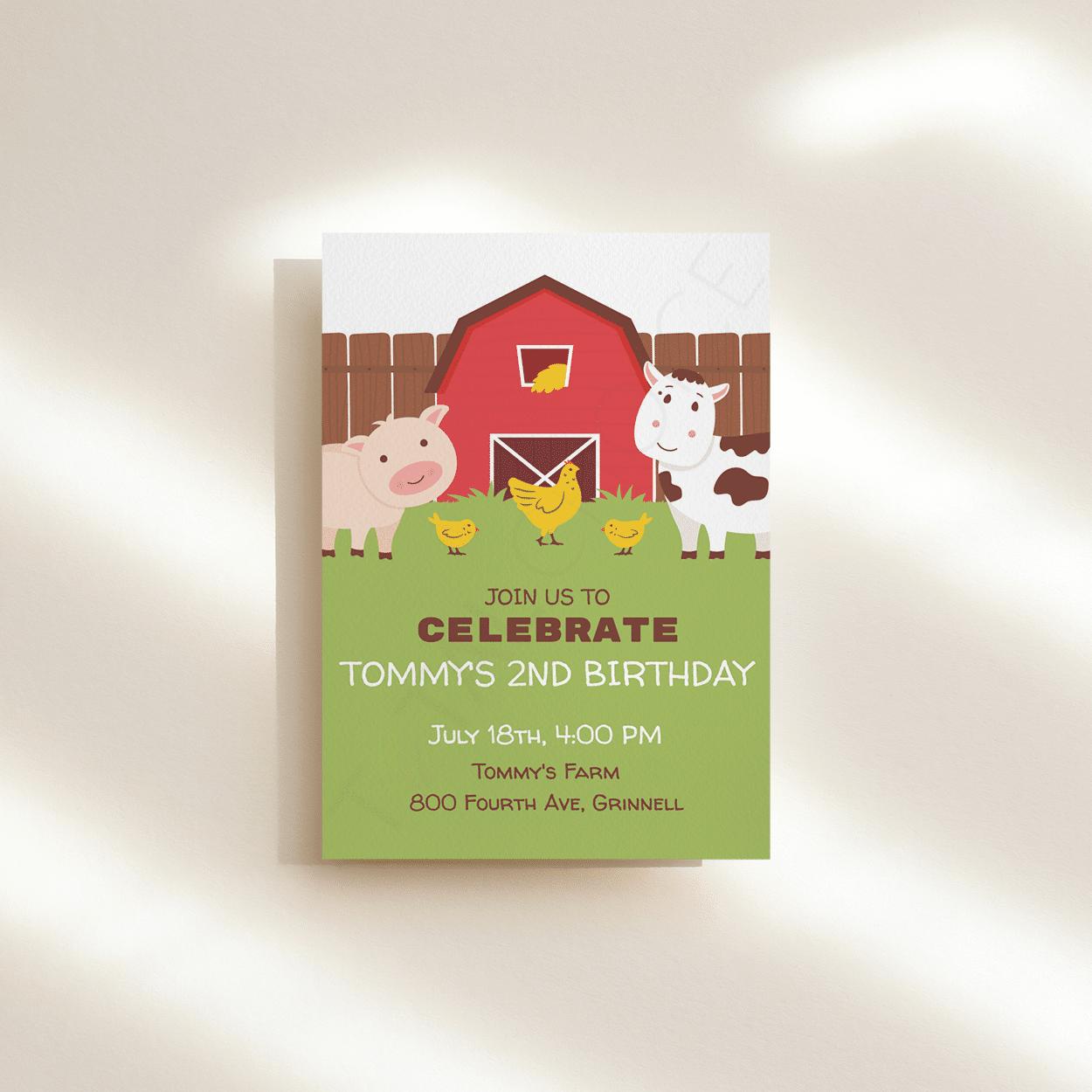 Farm House Birthday Invitation