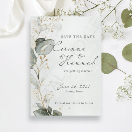 Golden Eucalyptus Wreath Save the Date
