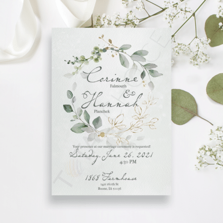 Golden Eucalyptus Wreath Invitation