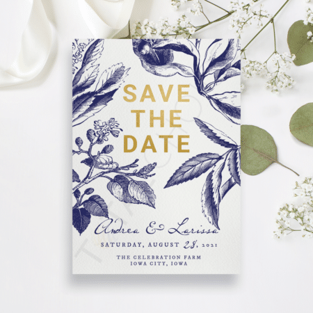 Gold and Navy Floral Save the Date
