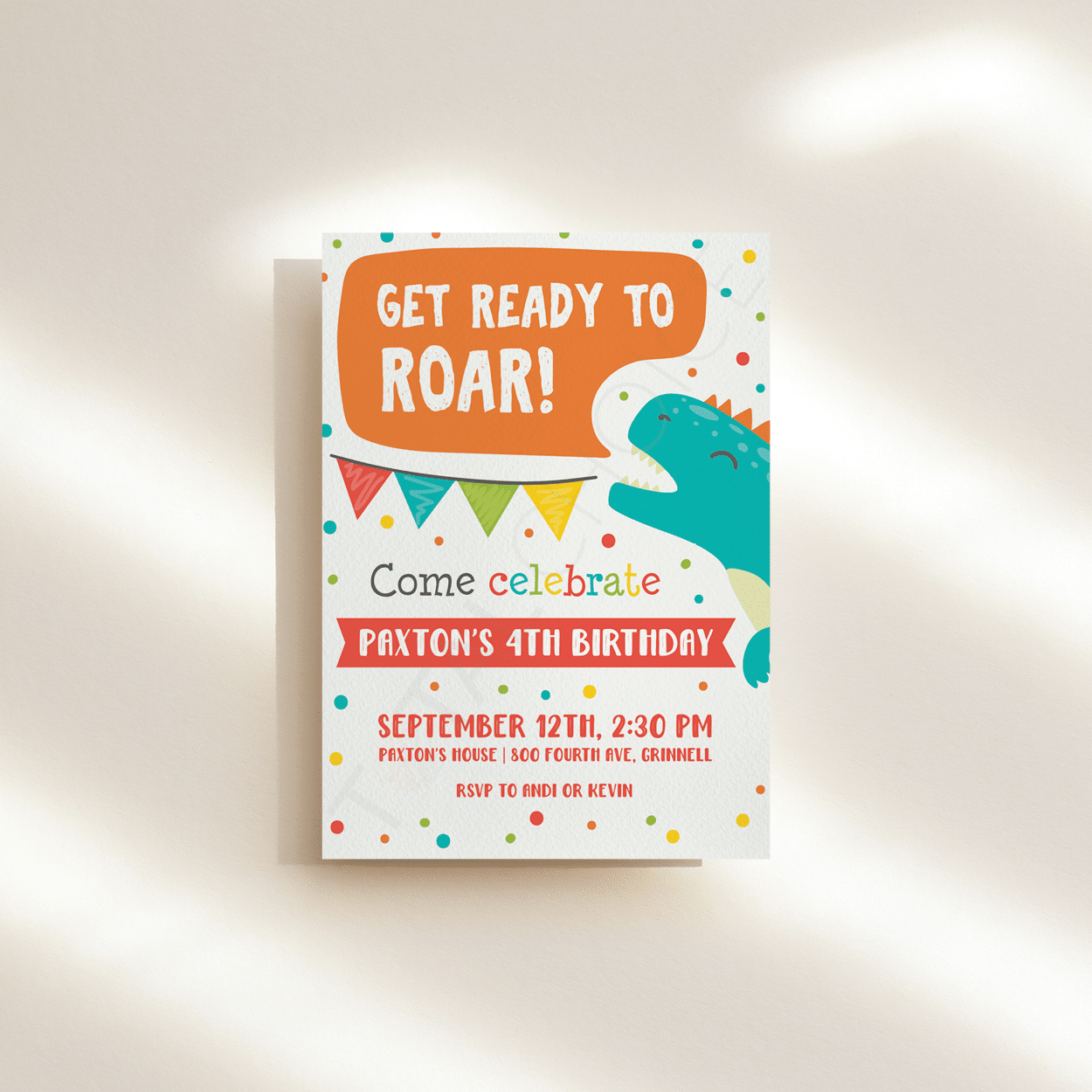 Get Ready to Roar Birthday Invitation