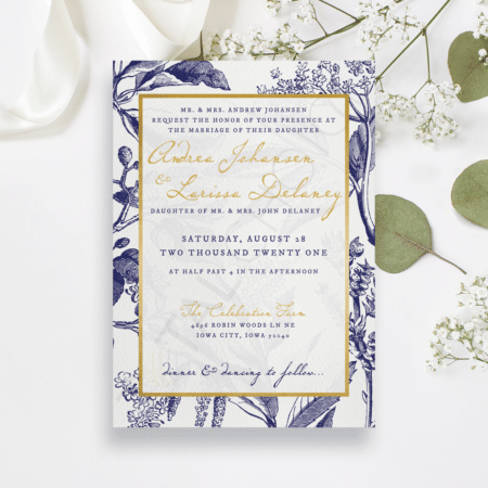 Gold and Navy Floral Invitation