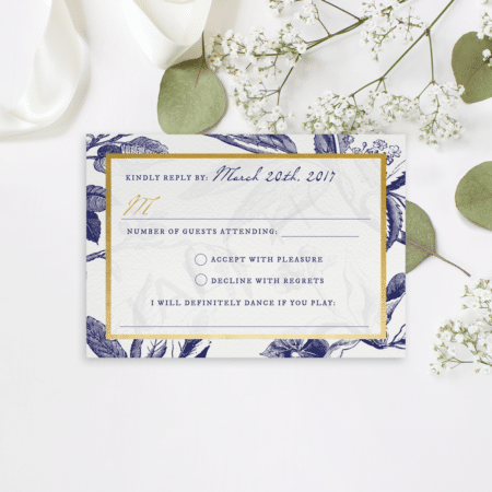Gold and Navy Floral RSVP