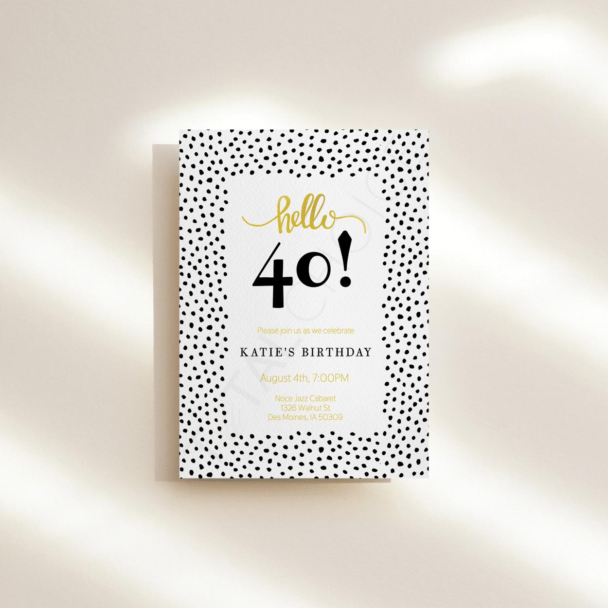 Hello Dots Birthday Invitation