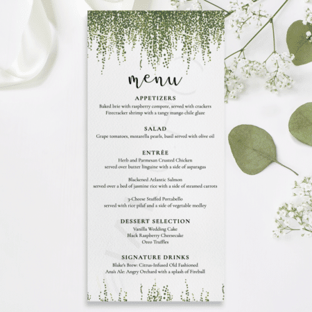 Dainty Greenery Menu