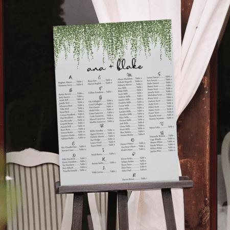 Dainty Greenery Seating Chart