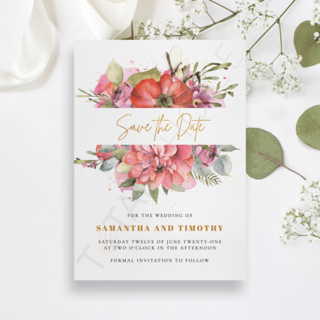 Floral and Gold Save the Date