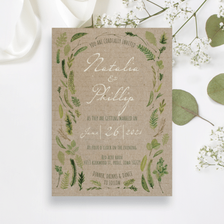 Vintage Watercolor Foliage Invitation