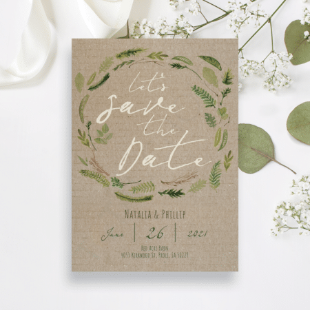 Vintage Watercolor Foliage Save the Date