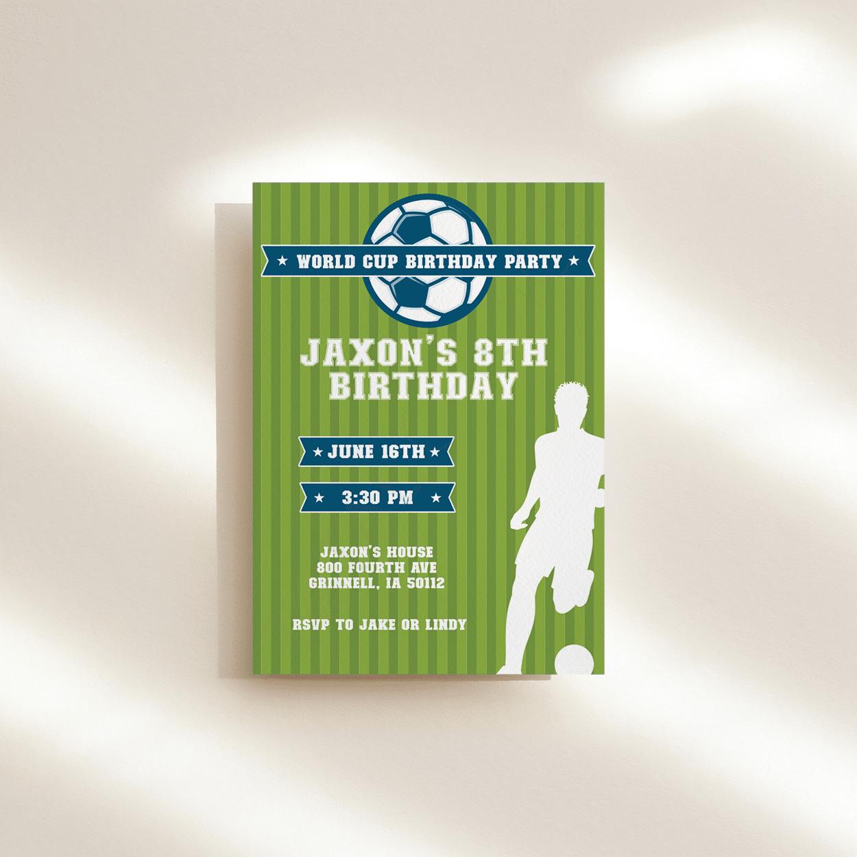 World Cup Soccer Birthday Invitation