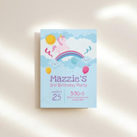 Unicorns and Rainbows Birthday Invitation