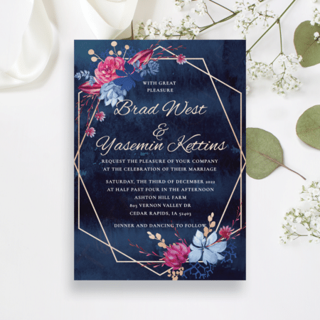 Navy and Burgundy Floral Invitation