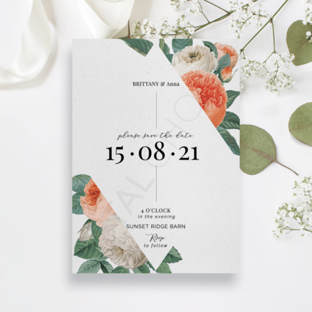 Mod Peony Floral Save the Date