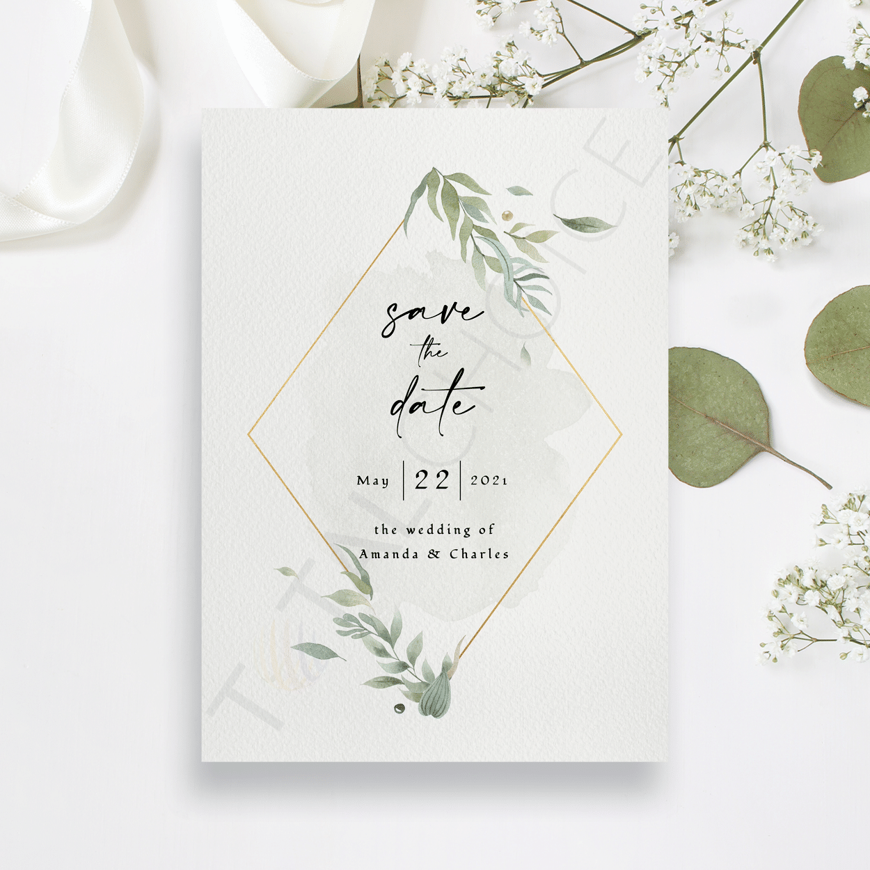 Modern Gold Foliage Save the Date