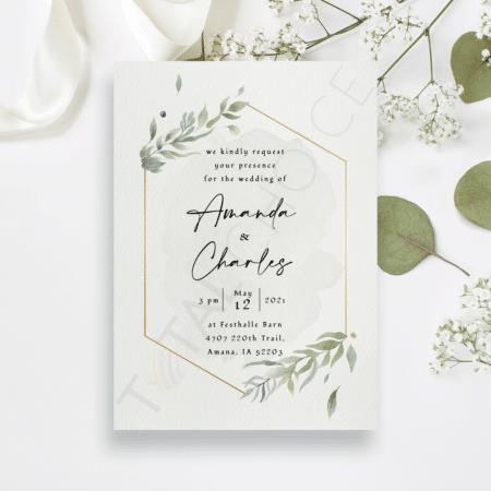 Modern Gold Foliage Invitation