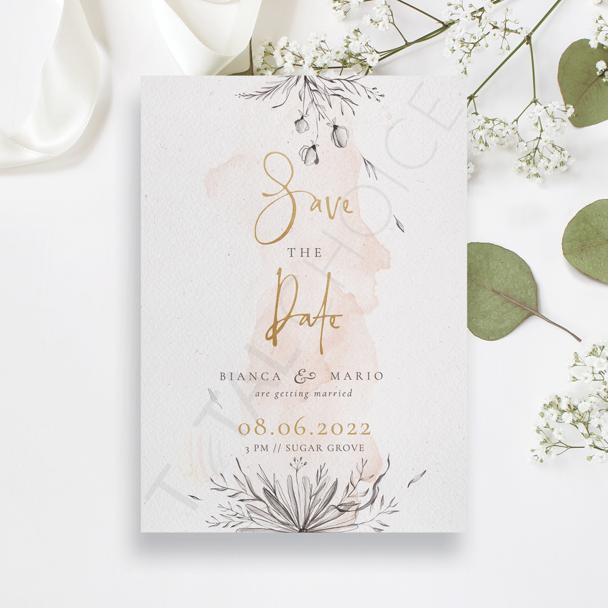 Peach & Grey Floral Save the Date