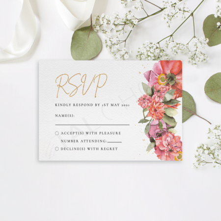 Floral and Gold RSVP