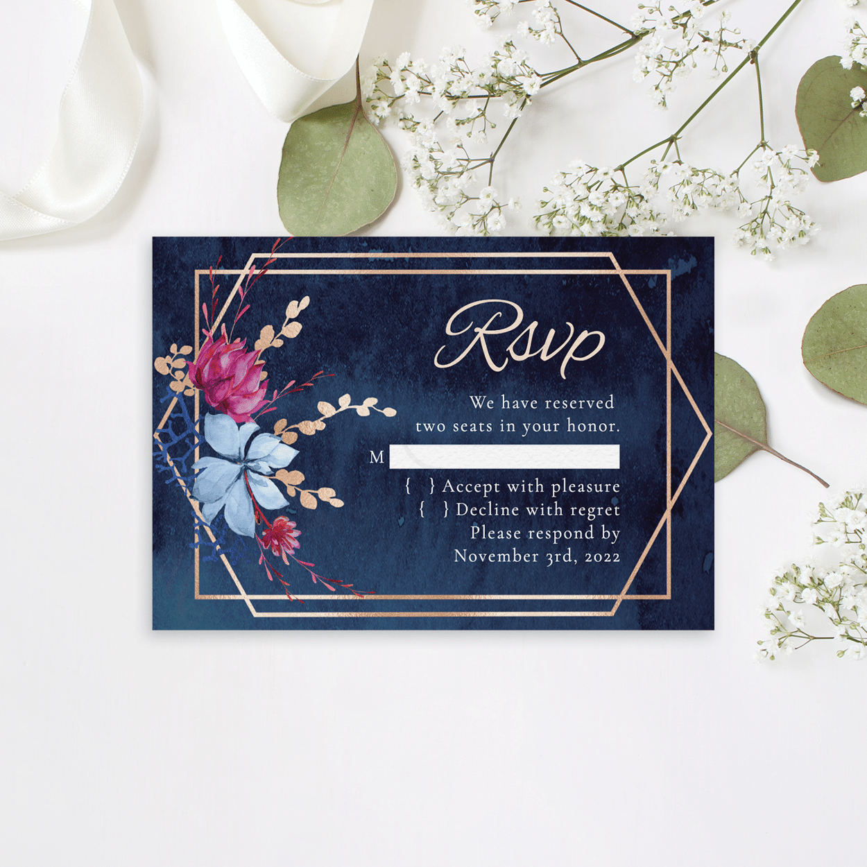 Navy and Burgundy Floral RSVP
