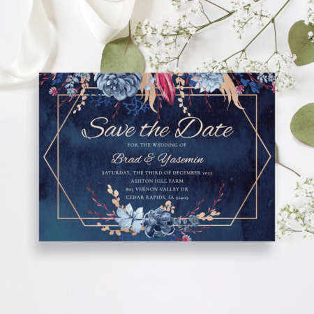 Navy and Burgundy Floral Save the Date